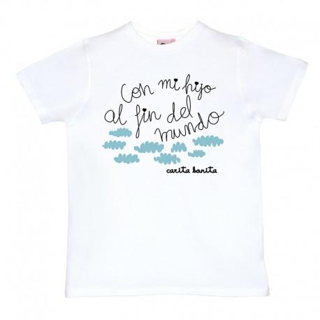 Camiseta para hombre blanca diseño con mi hijo al fin del mundo