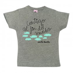 Camiseta manga corta para niños diseño contigo al fin del mundo