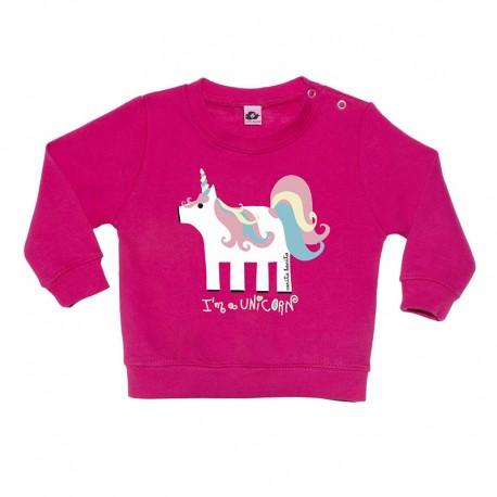 7c8991696 Sudadera sin capucha rosa fucsia diseño unicornio - Carita Bonita