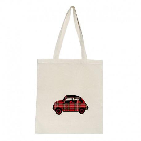 Tote bag natural diseño coche 600 cuadros escoceses