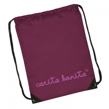 Bolsa mochila letras de carita bonita rosa flúor