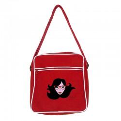 Bolsa retro pequeña roja diseño cara con gafas