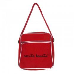 Bolsa retro pequeña roja diseño letras de carita bonita blancas