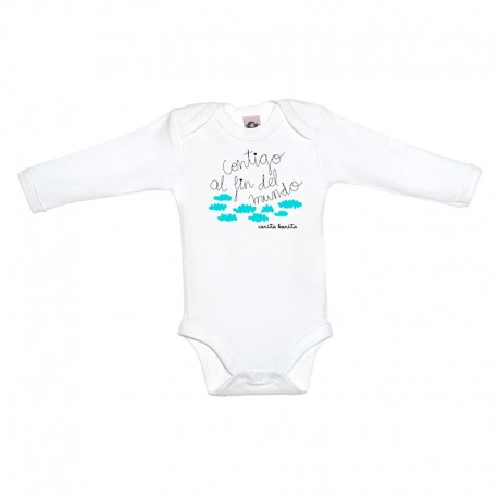 Body manga larga para bebé blanco diseño contigo al fin del mundo