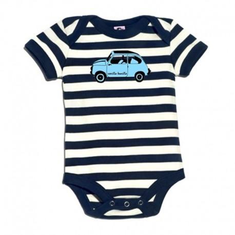 Body para bebé de rayas azul marino y blancas diseño 600