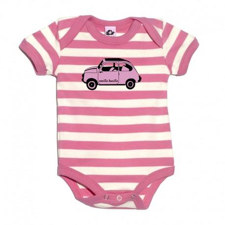 Body para bebé de rayas rosa y blancas diseño 600