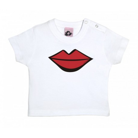 Camiseta manga corta para bebé blanca diseño el beso