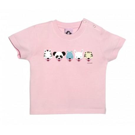 Camiseta manga corta para bebé diseño caretas