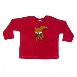 Camiseta manga larga para bebé roja diseño zorrito