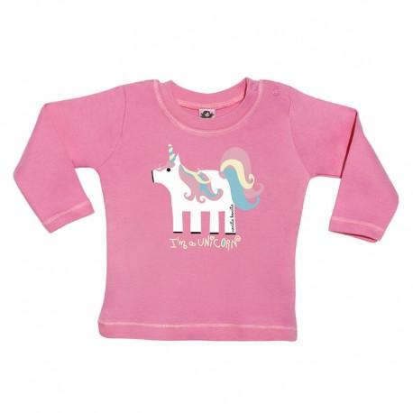Camiseta manga larga para bebé rosa fucsia diseño unicornio