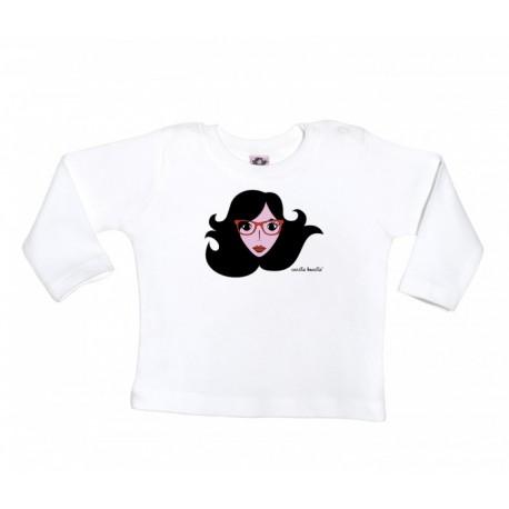 Camiseta manga larga para bebé diseño cara con gafas