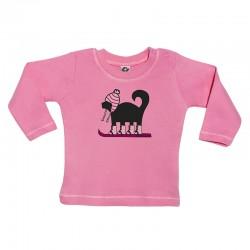 Camiseta manga larga para bebé diseño perro esquiador rosa