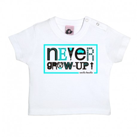 Camiseta de manga corta para bebé diseño Never Grow Up
