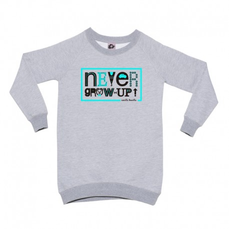 Sudadera larga gris diseño never grow up