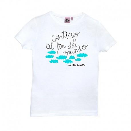 Camiseta manga corta blanca diseño contigo al fin del mundo