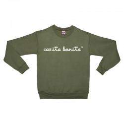 Sudadera sin capucha verde militar letras blancas