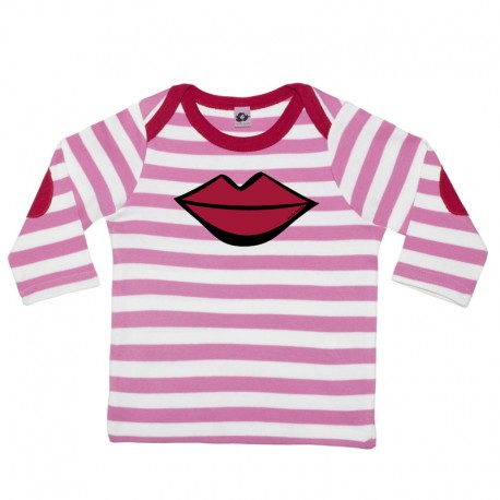 Camiseta manga larga para bebé rayas fucsia con morros