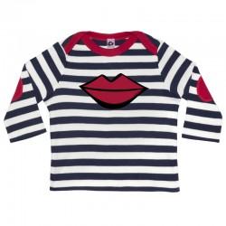 Camiseta manga larga para bebé rayas marino y morros