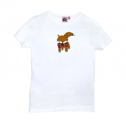 Camiseta manga corta blanca diseño zorrito