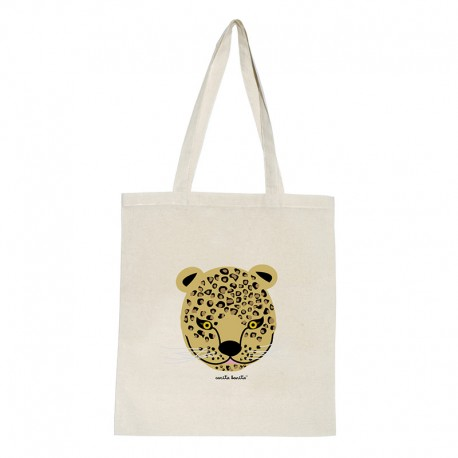 Tote bag natural diseño leopardo