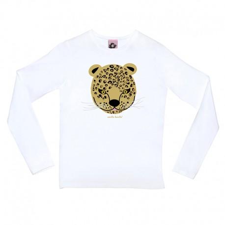 Leopardo Manga Blanca Mujer Camiseta Larga HEDYW29I