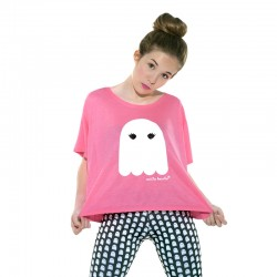 Camiseta boxy manga corta rosa flúor diseño el fantasma