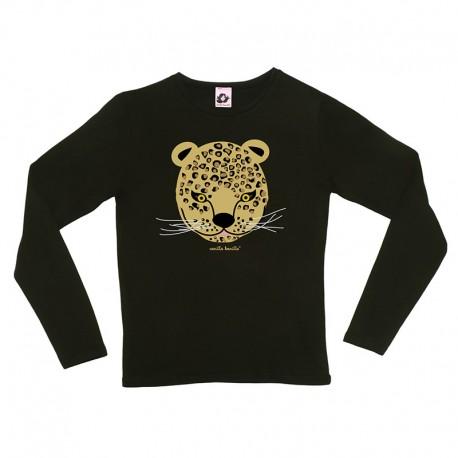 Camiseta manga larga negra mujer Leopardo