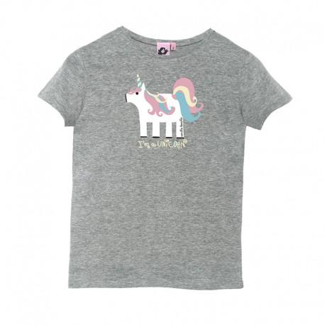 Camiseta manga corta gris diseño unicornio