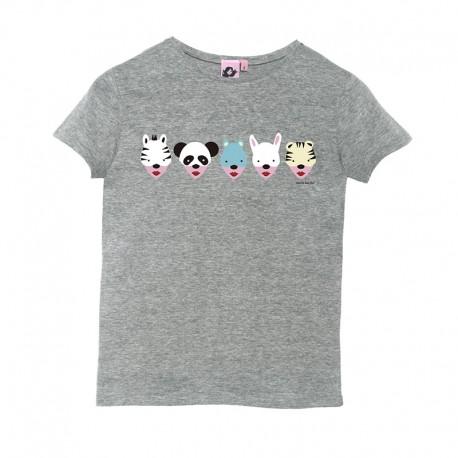 Camiseta manga corta gris diseño caretas