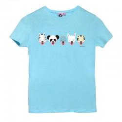 Camiseta manga corta azulita diseño caretas