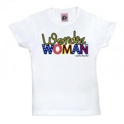 Camiseta manga corta para niños blanca Wonder Woman