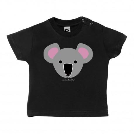 Camiseta manga corta negra para bebé diseño Koala