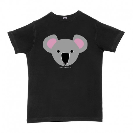 Camiseta manga corta negra letras blancas de carita bonita