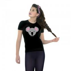 Camiseta manga corta negra diseño Koala