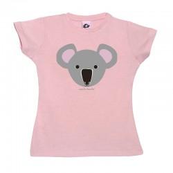 Camiseta manga corta para niñas negra diseño Koala