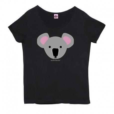 Camiseta manga corta negra cuello redondo diseño Koala
