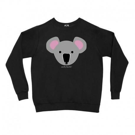 Sudadera sin capucha negra diseño Koala