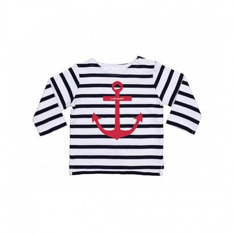 Camiseta manga larga rayas para bebé diseño ancla
