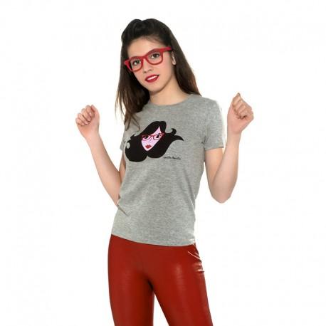 Camiseta manga corta gris diseño cara con gafas