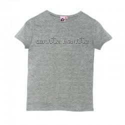 Camiseta manga corta gris letras de carita bonita con pata de gallo
