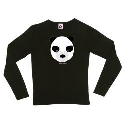 Camiseta manga larga negra mujer Oso panda