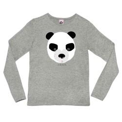 Camiseta manga larga GRIS mujer Oso panda