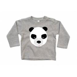 camiseta manga larga gris bebe Oso panda