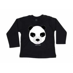 camiseta manga larga negra bebe Oso panda