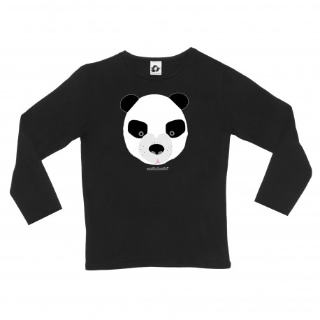 Camiseta manga larga oso negro panda