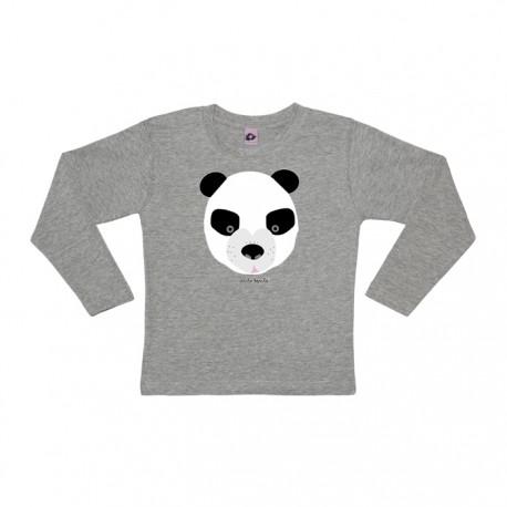 Camiseta manga larga oso gris panda