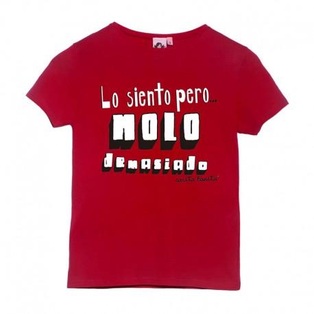 Camiseta manga corta roja diseño lo siento pero molo demasiado